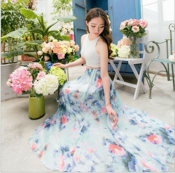 Ladies Floral Print  Elastic Waist Summer Chiffon Maxi Long Skirt Beach Dress