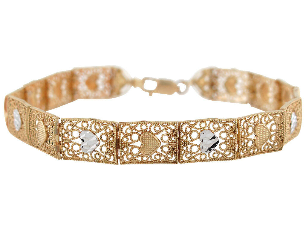 10k or 14k Two-Toned gold Ladies Exquisite Filigree Heart Bracelet withs