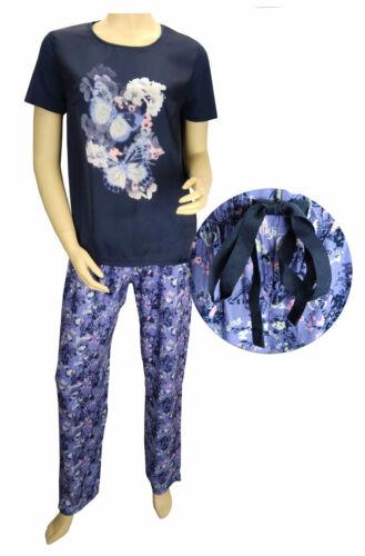 TCM Tchibo Damen Schlafanzug Pyjama Lang Nachtwäsche Kurzarm Shirt Blau Flieder