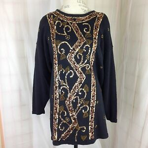 Black-Sweater-Tunic-Size-20-with-Gold-amp-Copper-Sequins-Studio-II