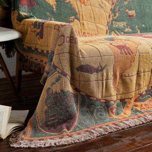 Large Reversible World Map Cotton Chenille Sofa Blanket Rug Throw Decoration X