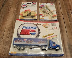 Lot of 3 Vintage Golden Wheel Pepsi Team Die Cast Toy Jeep, Truck & Helicopter.