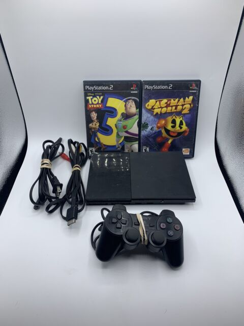 Sony PlayStation 2 Slim Black With 1 Controller, cables, and 2 Games TESTED