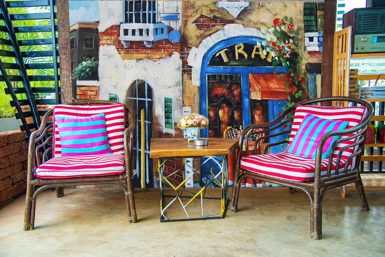 3D Coffee Shop Chair Paper Wall Print Wall Decal Wall Deco Indoor Murals