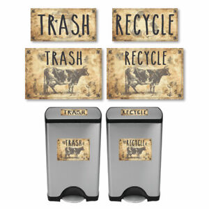 Vintage-Farmhouse-Styled-Country-Cow-Trash-and-Recycle-Label-Stickers