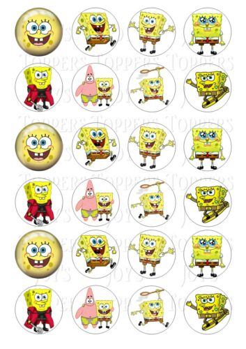 24 Sponge Bob Cupcake Toppers gâteau glacé givrage fée bun Toppers