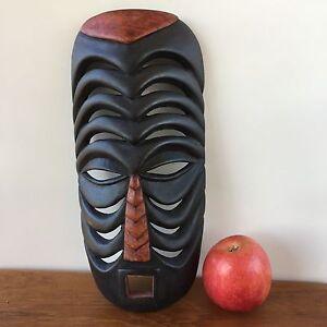 Vintage-BLACK-MASK-Wood-Carving-Tribal-ARTEFACT-Wooden-Art-Sculpture-241