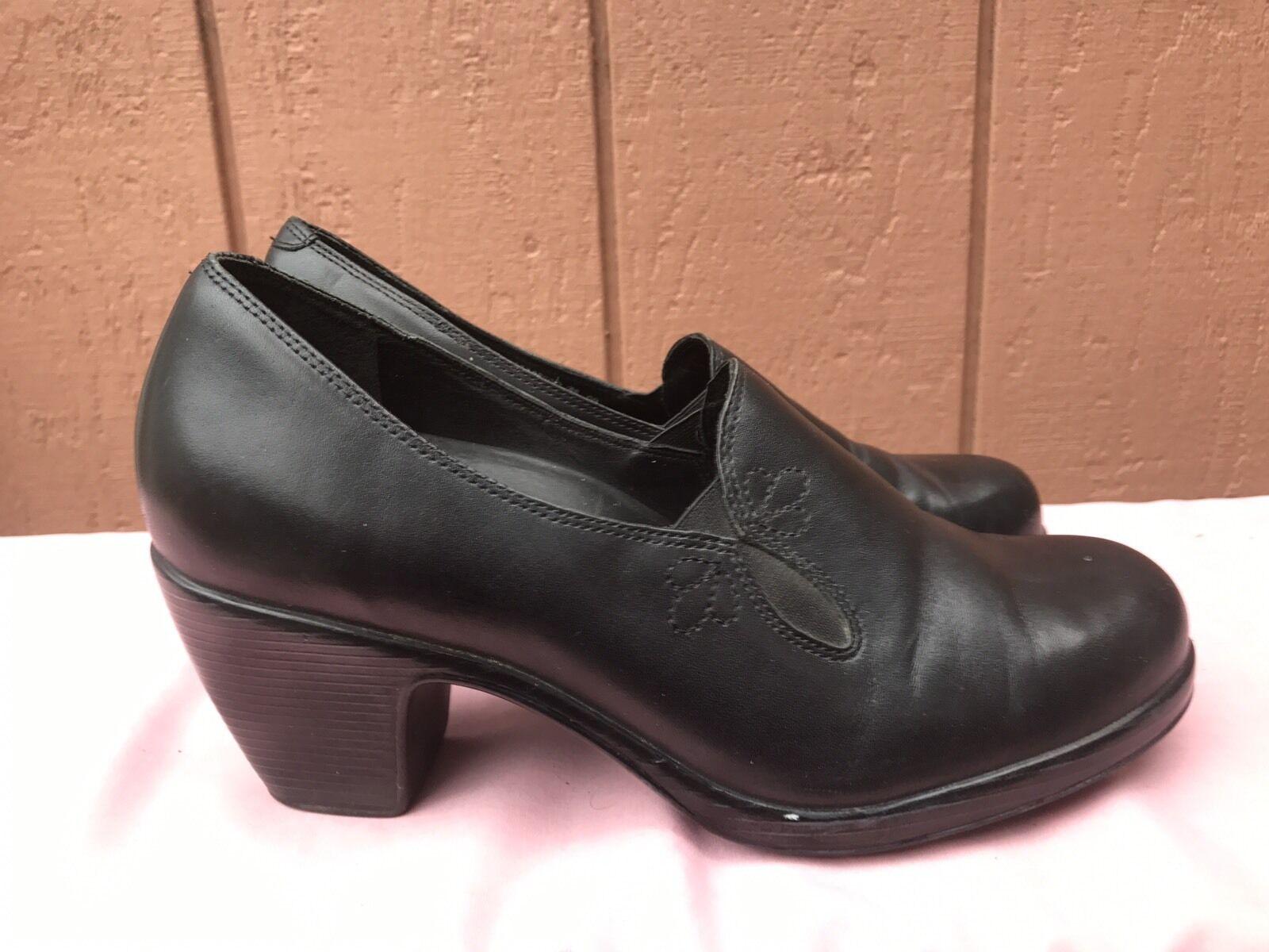 Excellent état utilisé dansko Beth Cuir noir Escarpins Sabots Talon Haut chaussures Femme Eur 40 Us 8.5-9