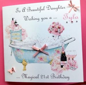 Image Is Loading PERSONALISED HANDMADE BIRTHDAY CARD 18TH 21ST 40th DAUGHTER