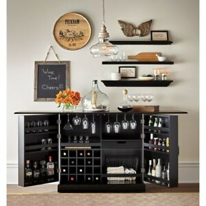 home furniture expandable bar wine cabinet storage kitchen black rh ebay com bar wine storage furniture hanging wine bar cabinet