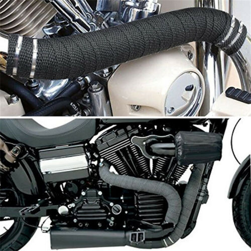 5M Car Motorcycle Exhaust Manifolds Fiber Glass Thermal Wrap Heat Tap Black New