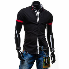 Italian Mens Button Down Slim Fit Casual Double Collar Shirt Top M L XL XXL