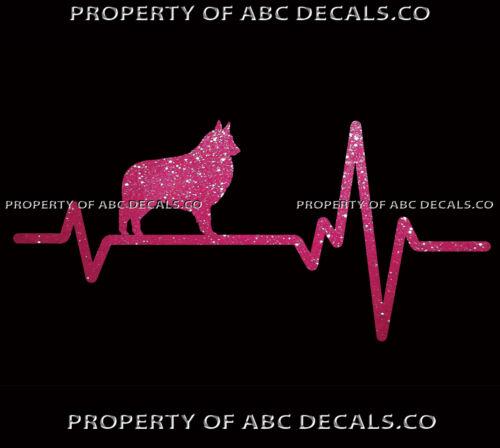 HEART BEAT LINE DOG BELGIAN TERVUREN Puppy Paw adoption Rescue CAR METAL DECAL