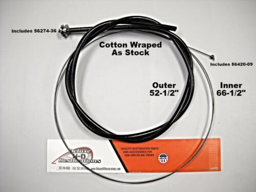 3334-32 KNUCKLEHEAD PANHEAD THROTTLE AND SPARK CONTROL COTTON BRAIDED CABLE