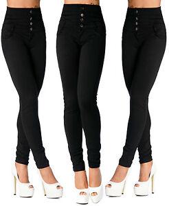 sexy-pour-femmes-elastique-PANTALON-NOIR-TAILLE-HAUTE-SKINNY-fin-K-656