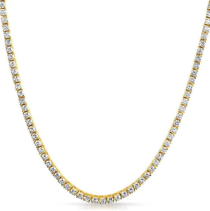 3mm VVS Lab Diamond 1 Row Yellow Gold Plated Tennis Chain Solid Steel Necklace
