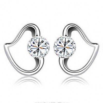 Women Fashion 925 Sterling Silver Crystal Rhinestone Elegant  Ear Stud Earrings