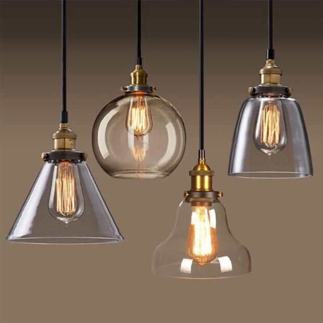 Vintage Industrial Loft Hanging Pendant Light Fixture Glass Ceiling Lamp Shade