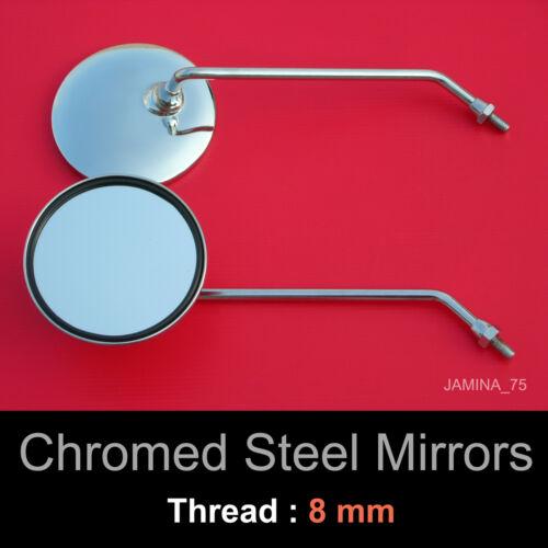 Honda cub C50 C65 C70 C90 CM90 CM91 8mm en acier chromé métal miroir rond paire