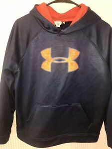 e2862e4b76 Details about Under Armour Boys Pull over Hoodie Orange Logo Sweatshirt  Jacket YXL Navy Blue