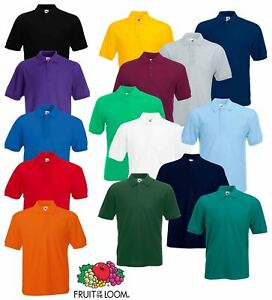 Fruit-of-the-Loom-Plain-Cotton-Mens-Polo-Shirts-T-Shirt-Short-Sleeve-Tshirt