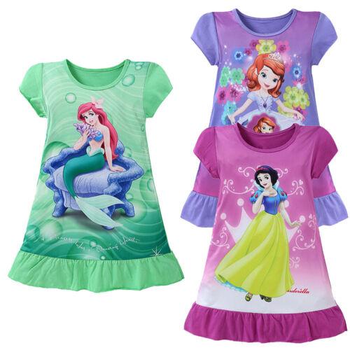 USA Cartoon Baby Girls Mermaid Snow White Sofia Princess Dress Kids Party Dress