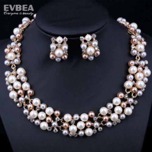 Para Mujer Grueso Perla y Cristal Diamante Exclusivo Collar y Pendientes Set
