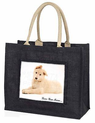 weißer Deutscher Schäferhund' Liebe, die sie Mama' große schwarze Einkaufstasche