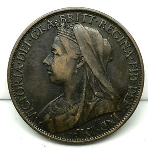 1898-GREAT-BRITAIN-VICTORIA-ONE-PENNY-BRONZE-SCARCE-HIGH-GRADE-COIN-KM-790