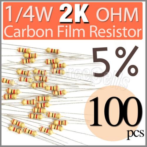 //-5/% 100 pcs Carbon Film Resistors 1//4W 0.25W Watt 2000 Ohm 2KOhm 2K Ohm