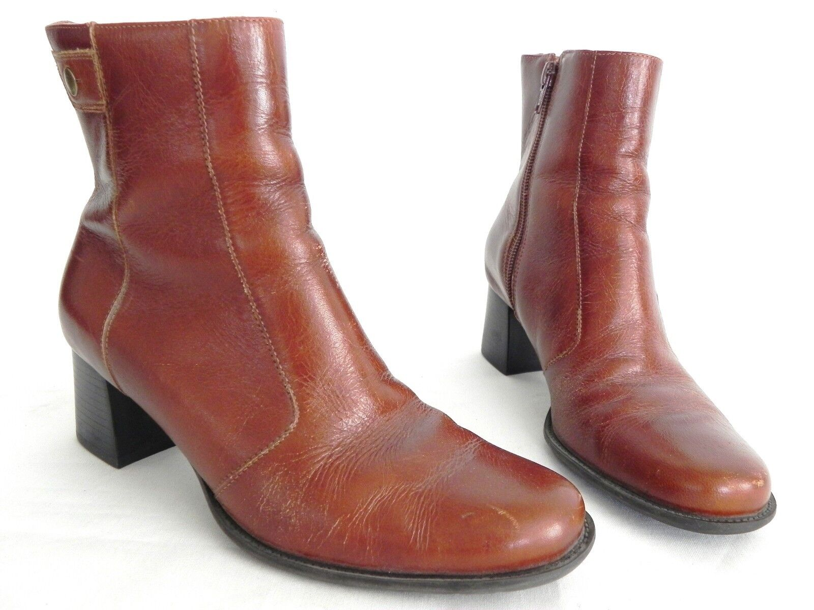 """Naturalizer  Ankle Boots Leather uppers Size 6 M Brown 2"""" Heels"""