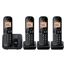 PANASONIC TGC224 CORDLESS QUAD PHONE WITH ANSWERING MACHINE BLACK KX-TGC224EB