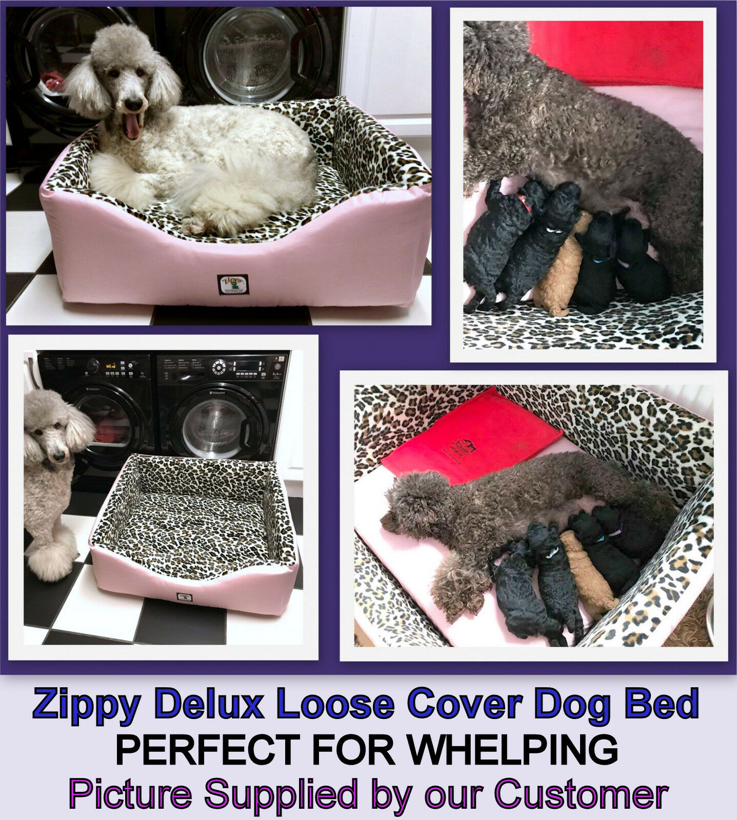 LARGE DELUX ZIPPY WHELPING DOG BED WATERPROOF OUTER SHELL & LEOPARD INTERIOR