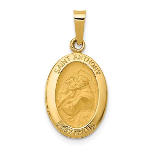 Anthony Medal Pendant XR1288 14K Yellow Gold Polished /& Satin St
