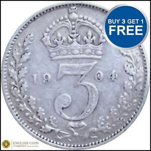 1902-To-1910-Edward-VII-argent-trois-pences-3D-Choix-de-l-039-annee-date
