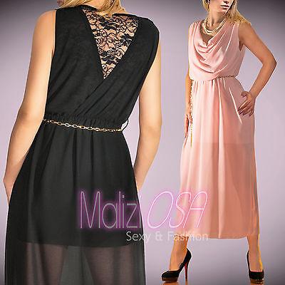 Abito Elegante Vestito Lungo Pizzo Schiena DONNA da Sera Cerimonia Long Dress
