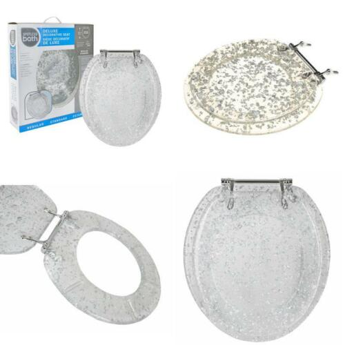 Taille Standard Résine WC Siège avec charnières Chrome Clair cadre feuille d/'argent Flocons
