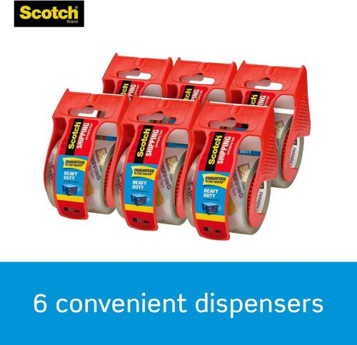 Scotch Shipping Packaging Tape Clear 6 Rolls w// Dispensers Heavy Duty Packing