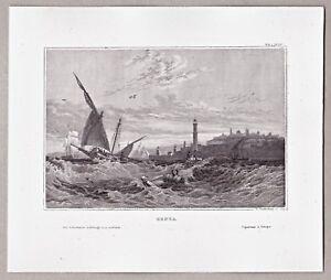 Genua-Italia-Italien-Ansicht-vom-Meer-aus-Stich-Stahlstich-um-1850