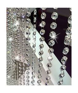 """40.5/"""" Clear Crystal Chandelier Prism Lamp Octagon Bead Chain Wedding Pendant"""