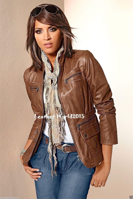Damas Para mujeres Cuero  Real Chaqueta Vintage Marrón Tostado Calce Entallado Chaqueta Biker  moda