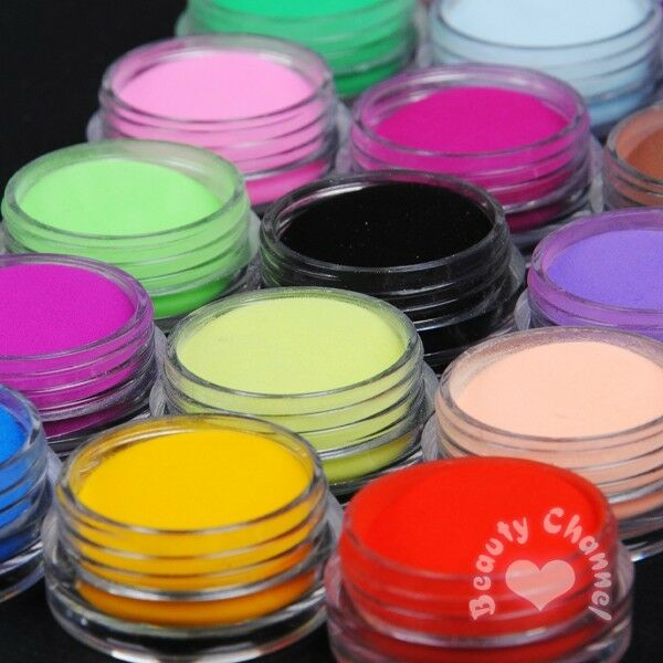18 Colors Carving Acrylic Powder Nail Art Crystal Nail Polymer Dust for liquid