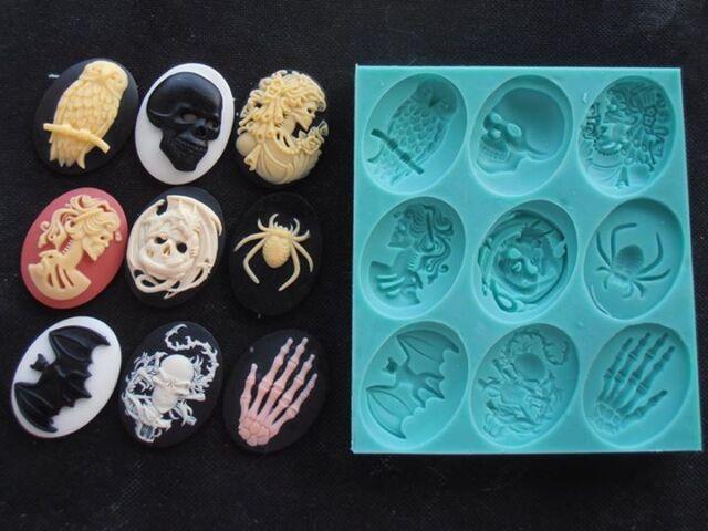 Silicone Mould HALLOWEEN CAMEOS Cake Decorating Fondant / fimo mold