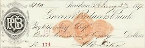 1877  THE GROCERS AND PRODUCERS BANK, PROVIDENCE, RHODE ISLAND  REVENUE