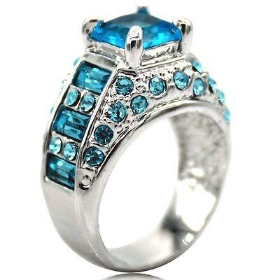 SZ 5-11 925 Silver Platinum Plated Blue Crystal  Wedding Engagement Bridal Ring