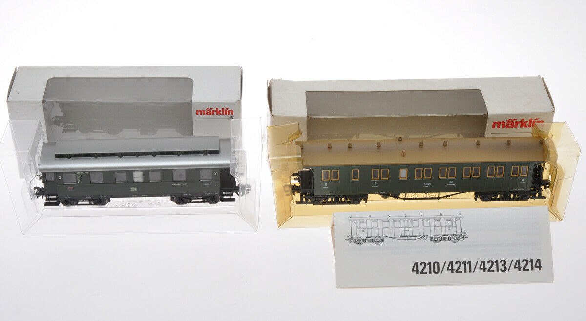 Marklin lot of 2 Passenger wagons 4210 & 43070 bre nuovo in scatola