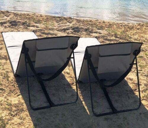 Tasche GRAU ü5ü Lehne 2 STÜCK STRANDLIEGE SONNENLIEGE SET Strandmatte Liege