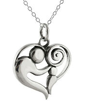 Mother Child Necklace - 925 Sterling Silver - Mother Baby Charm Family Love NEW