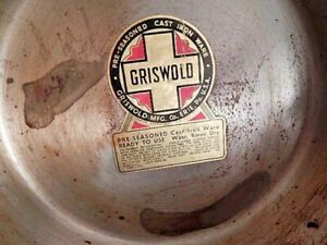 Nos-Vintage-GRISWOLD-Erie-PA-USA-Cast-Iron-Ware-Heavy-Metal-Frying-Pan-7-701G