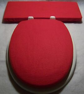 Captivating ... Solid RED Fleece Elongated Toilet Seat Lid And